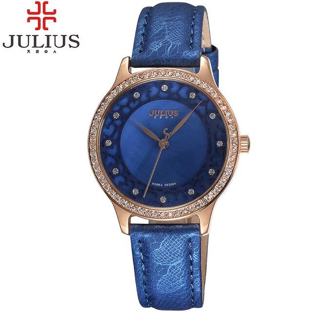 2017 julius marca de luxo relógios das mulheres de cristal rhinestone senhoras relógios de pulso de quartzo couro strap montre femme reloj mujer presente