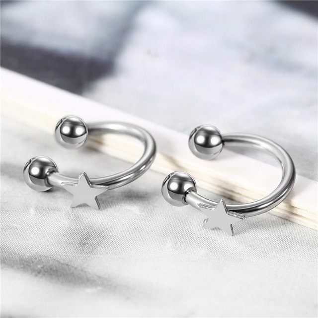 Silver Stainless Steel Star Piercing