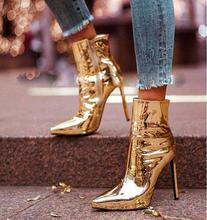 Sexy Gold Patent Leather High Heel Boots Women Sexy Pointed Toe Thin Heels Womens Ankle Boots Shoes Zipper Shoes Size 34-42 недорого
