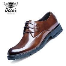 DESAI Brand Shoes Men Genuine Leather Business Shoes Luxury Patent Leather Office Suit Shoes Flat font