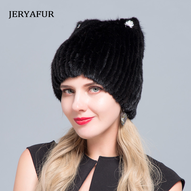 2019 Middle Aged Women In The Winter: Mink Fur Women's Knitted Sweater Hat New Fashion European And American Cat Style Ski Caps