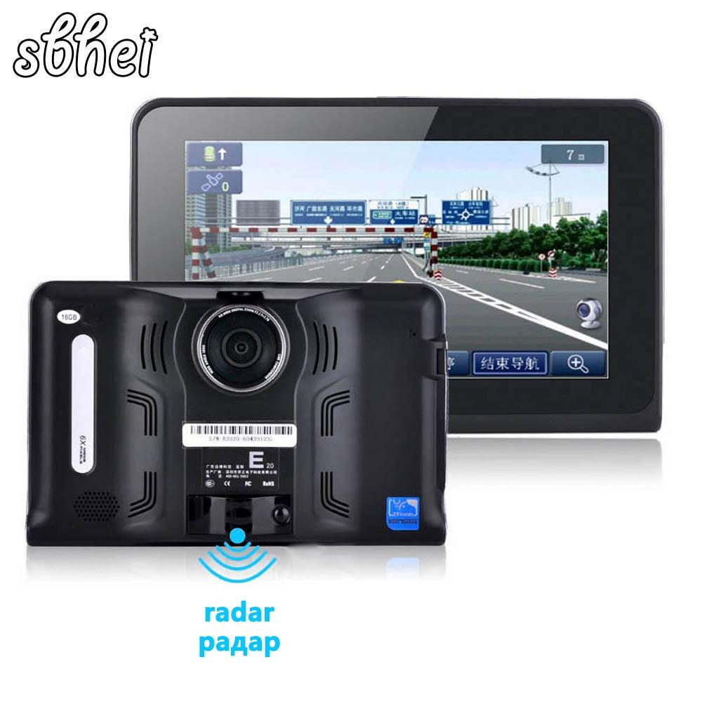 Sbhei 7 pouces écran capacitif Android voiture camion GPS Navigation vue arrière tablette PC Radar détecteur intégré 16 gb