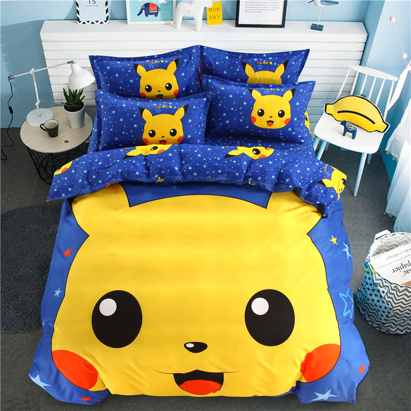 popular pokemon cartoon bedding set queen full size duvet cover sheet pillow case bed linen setpopular pokemon cartoon bedding set queen full size duvet cover sheet pillow case bed linen set