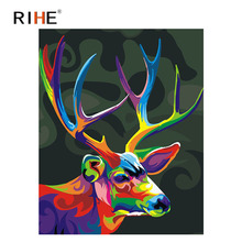 RIHE Colorful Deer Diy Painting By Numbers Animal Oil On Canvas Hand Painted Cuadros Decoracion Acrylic Paint Home Art