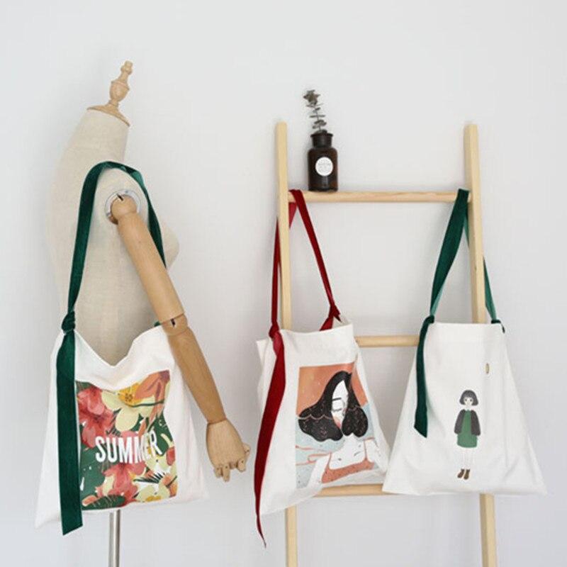 YILE Cotton Canvas Eco Shopping Tote Shoulder Bag Graffiti Girl Colorful Strap 517-2 ...