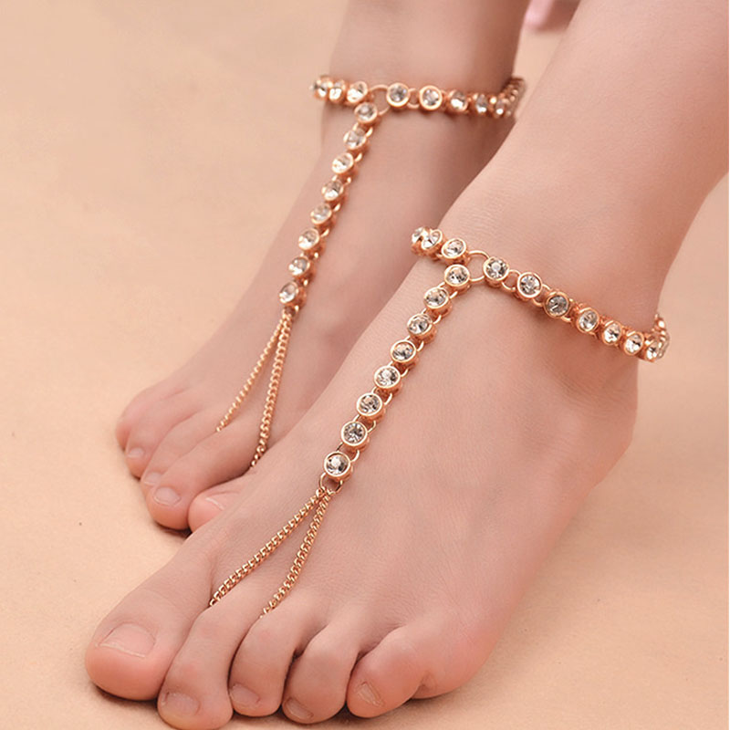 1 Pc Silver Color Fashion Beach Barefoot Sandals Anklet for Women Chain Beach Holiday Round Crystal