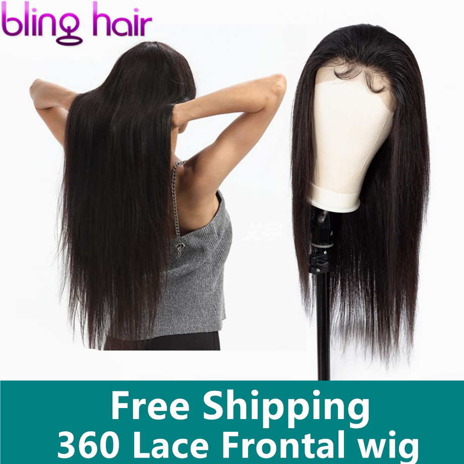 Bling Hair 360 wigs for Black Women With Baby Hairs Pre plucked Indian Straight Hair Lace