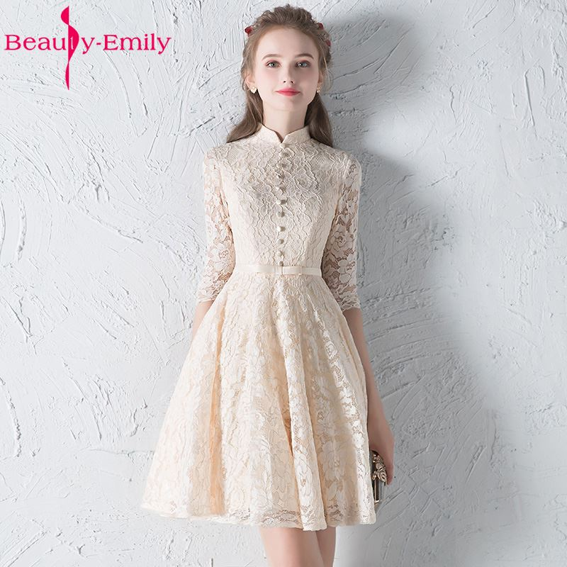Beauty-Emily Champagne Lace   Bridesmaid     Dresses   2018 A-Line Knee-Length Button Prom Party Prom   Dresses   Homecoming   Dresses