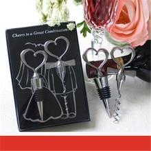 Love Heart Wine Bottle Opener + Wine Stopper Wedding Gifts for Guests Bottle Opener Sets Wedding Souvenirs Wedding Decoration
