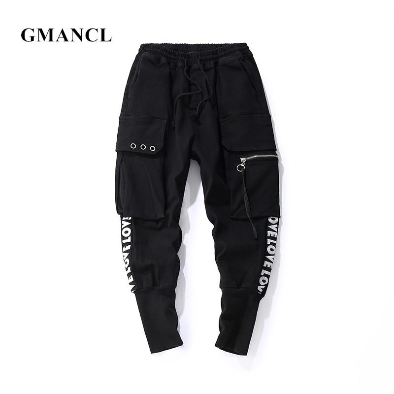 GMANCL 2018 Autumn New Fashion Joggers Casual Pants High Quality Multi-pocket Letter Printed Hip Hop Streetwear Men Sweatpants