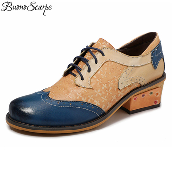 Buono Scarpe Lace Up Chic Women Brogue Shoes Carved Patchwork Heels Spring Summer Shoes Women Classic Retro Casual Ladies Shoes