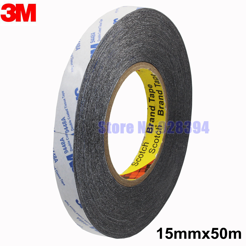 15mm 50m 3m 9448a Black Double Sided Tissue Tape Repairing Cellphone Touch Screen Lcd Led