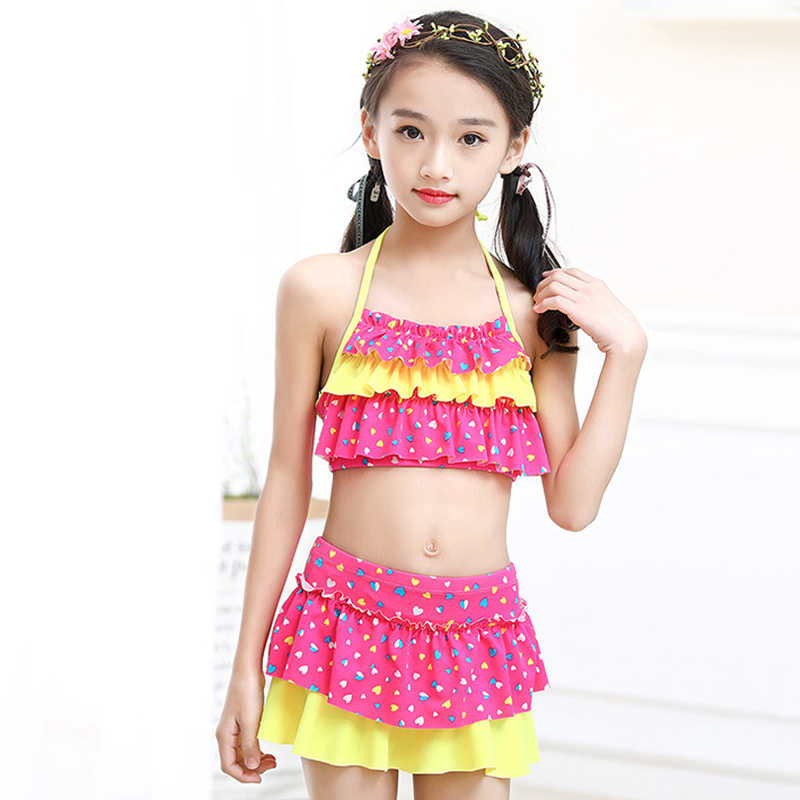 4f88cd5ab 2019 New Girls Two Pieces Suits for Swimming Children Polyester Swimwear  Kids Floral Bathing Suit Swim