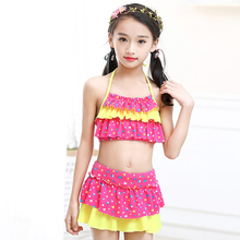 2019 New Girls Two Pieces Suits for Swimming Children Polyester Swimwear Kids Floral Bathing Suit Swim Wear Big Girl Swimsuits