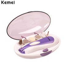 Kemei 6 in 1 Nail Art Tips Electric manicure set nail Toenail Drill File Grinder Grooming Kit Nail Tool manicura wholesale
