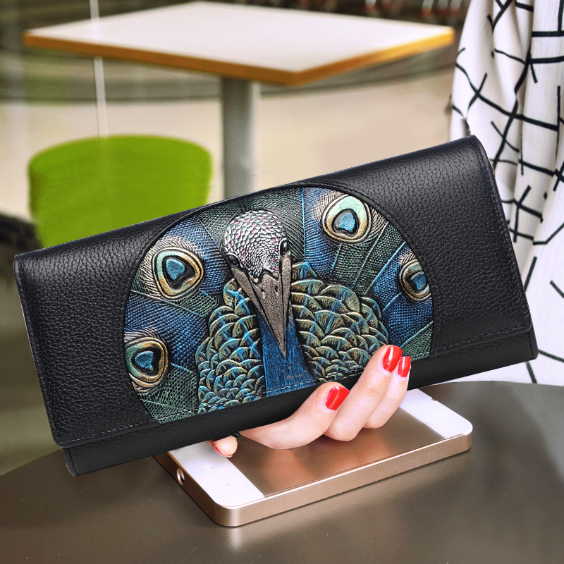 Lady Vintage Peacock Printing Handbag Women Cowhide Genuine Leather Bag Small Clutch Bag Wristlet Wallet Shoulder Envelope Bag 2017 women bag cowhide genuine leather fashion folding handbag chain shoulder bag crossbody bag handbag party clutch long wallet