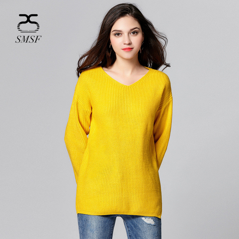 SMSF New Casual 2017 Womens Sweater Plus Size Sexy Pull Femme Hiver V-Neck Slim Knitting Pullover Female Christmas Sweater