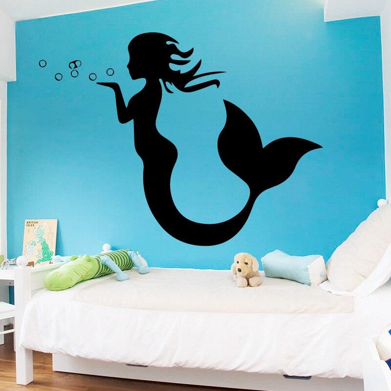 Lovely Mermaid Pattern Bathroom Toilet Sticker Window Wall Sticker Home Decor