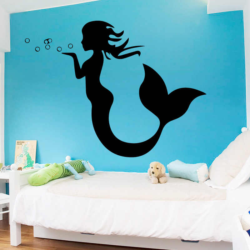 AiyoAiyo Sexy Little Mermaid Wall Sticker For Home Decor Living Room Girls Accessories Decals Waterproof Vinyl