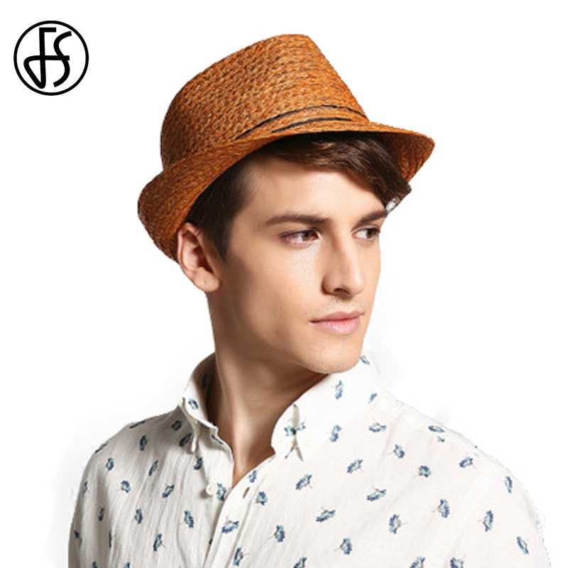 FS Vintage Panama Hat Men Raffia Straw Fedora For Male Women Summer Fashion Beach Sun Visor Cap Chapeau Cool Jazz Trilby Caps