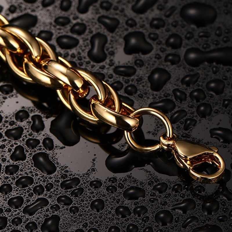 Wysokiej jakości Hip Hop biżuteria odważne okrągły Link bransoletki i łańcuszki na rękę ze stali nierdzewnej złote bransoletki biżuteria męska