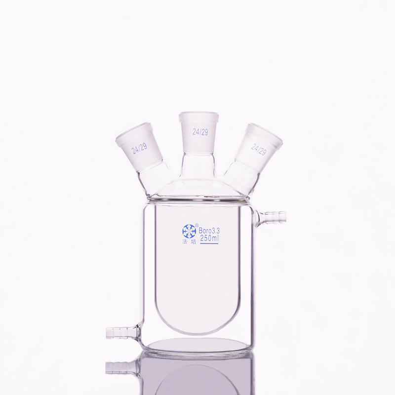 Double-deck cylindrical three-necked  bottom flask,Capacity 250ml,Joint 24/29,Mezzanine jacketed reactor bottleDouble-deck cylindrical three-necked  bottom flask,Capacity 250ml,Joint 24/29,Mezzanine jacketed reactor bottle