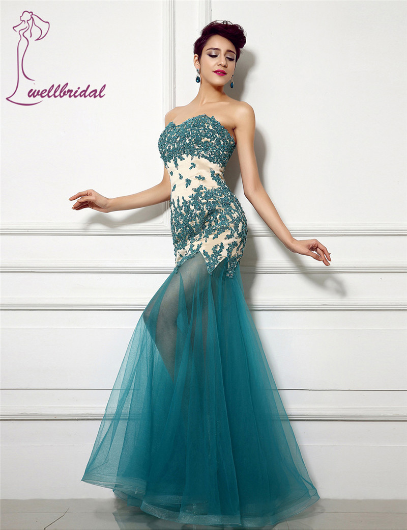 See though Botton Top Quality 2016 Sexy Mermaid Gown Sweetheart Appliques Lace Beads Tulle No Train Long Formal   Evening     Dresses