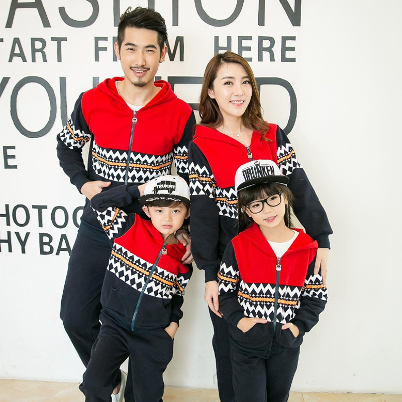 New Autumn Family Matching Outfits Korean Style Sweatshirt Zipper Striped Stitching Fashion Family Clothes Couple Clothes Set