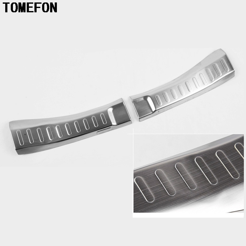 TOMEFON For Honda Jazz 2014 2015 Stainless Steel Inner Rear Trunk Lid Threshold Pad Pedal Bumper Protector Sills Trims 2pcs|trunk lid trim|rear bumper trim|pad trunk - title=