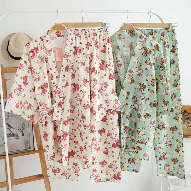 De las mujeres Pijamas de Algodón Set Para Mujer Floral de La Vendimia Yukata Pijamas Set Homewear Lindo para Las Mujeres 2016 Verano Nueva