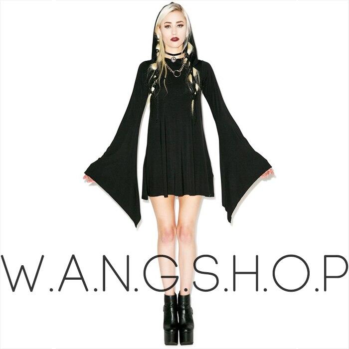 Goths casquette sangle slim taille à capuche ceinture une pièce robe halloween cadeau rock robe XS-L livraison gratuite