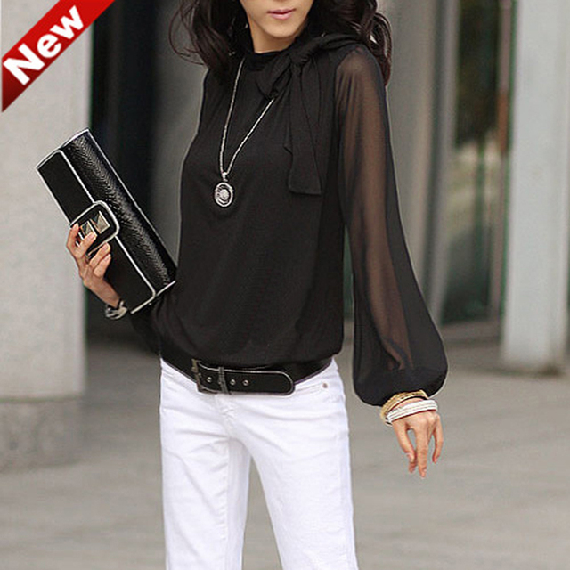 Fashion Slim Women Shirt 2016 New Summer Lantern Sleeve Bow Blouse Long Sleeve Chiffon Plus Size Shirt Women Clothing S-5XL