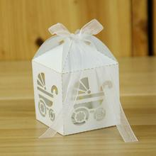 Free Shipping 50pcs/pack Baby Carriages Laser Cut Gift Candy Boxes Wedding Party Favor with Ribbon
