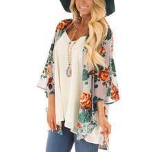 Women Casual Vintage Kimono Cardigan Ladies Long Cover Up Chiffon Kimono preto Loose floral printed Blouse Tops summer autumn long cover up women vintage floral tassel beach cover up tops chiffon blouse shirts 456