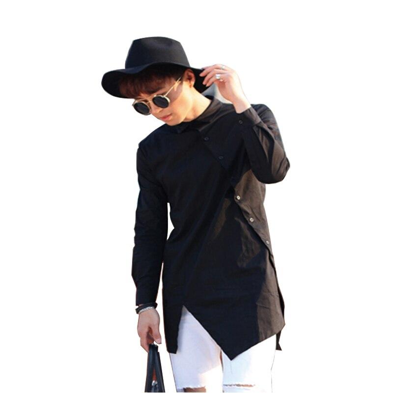1781399086a3a33 Удлиненные мужские панк рок рубашки для мальчиков с длинным рукавом  наклонная косой кнопки черный, белый