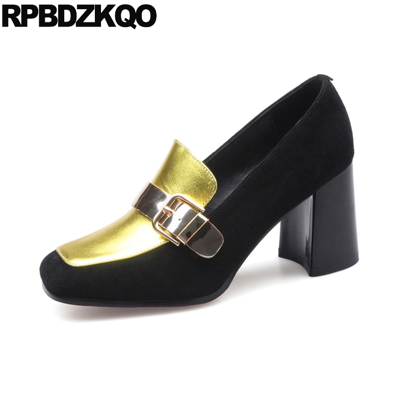Size 4 34 2018 Suede Special Pumps High Heels Ladies Gold Shoes Golden Quality Multi Colored Square Toe 3 Inch Strap Chunky цена и фото