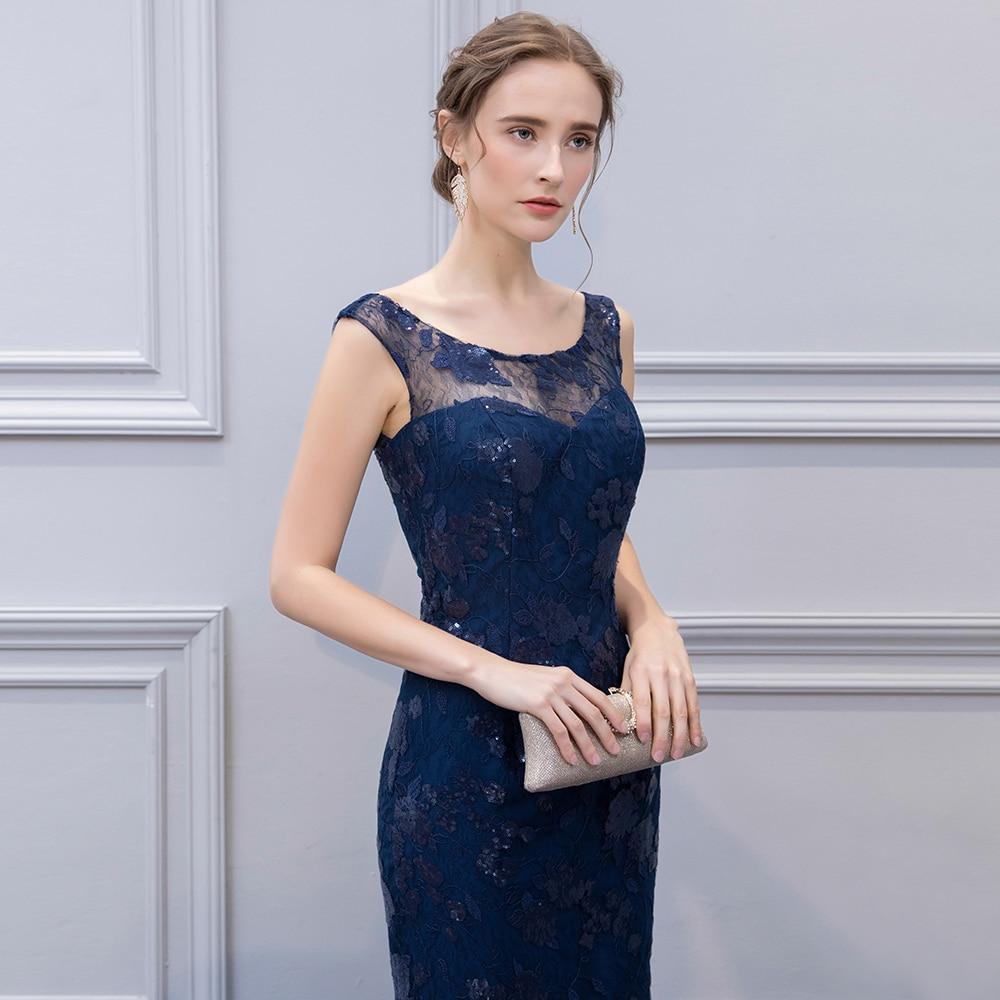 BeryLove élégante bleu marine sirène mère de marié robe 2019 mariage pas cher longue dentelle pailletée mère de la mariée robe maman - 4
