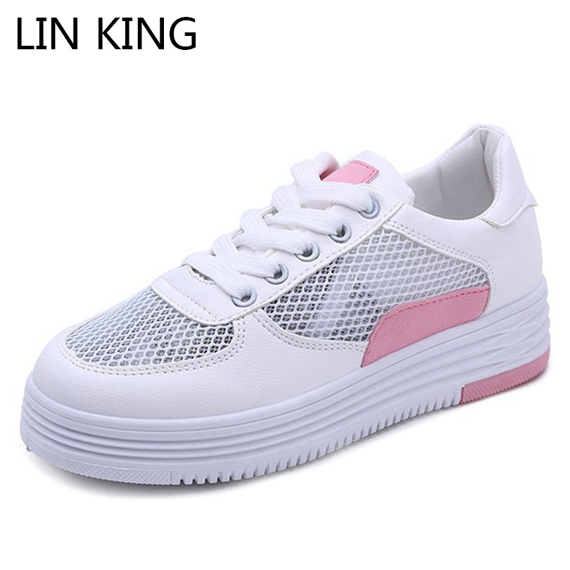 LIN KING Breathable Mesh Women Casual Shoes Thick Sole Summer Height Increasing Platform Shoes Anti Slip Woman Ankle Sneakers цены онлайн