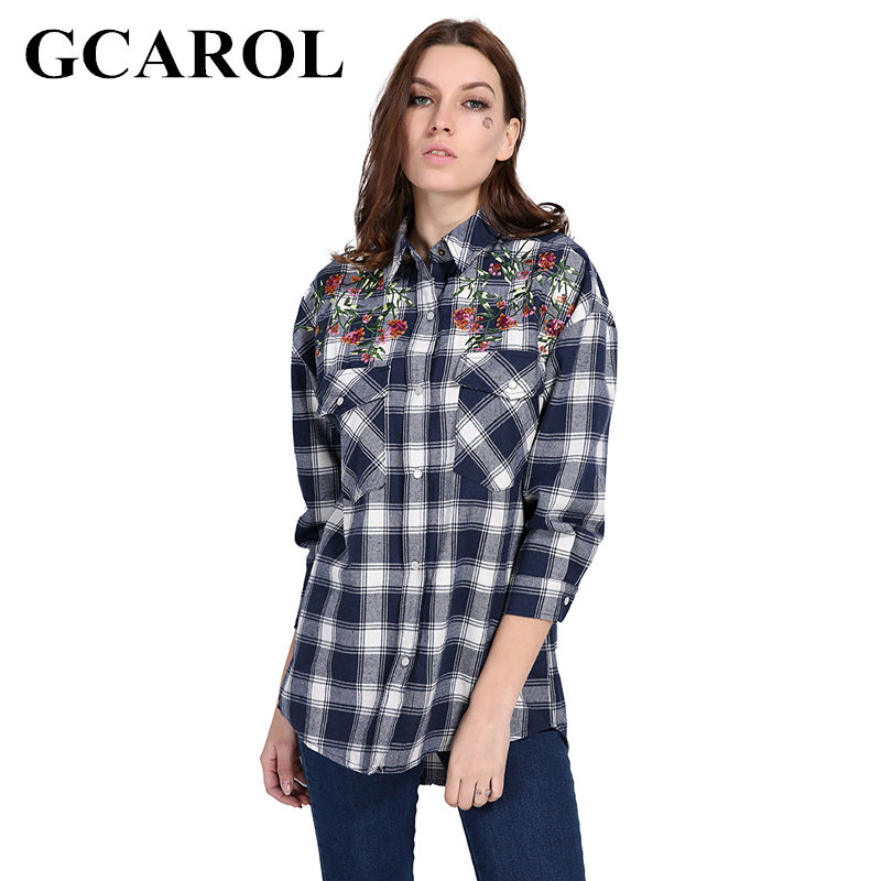 GCAROL New Autumn Winter Women Embroidery Floral Plaid Blouse Two Pockets Asymmetric Shirt Fashion Vintage British Style Tops