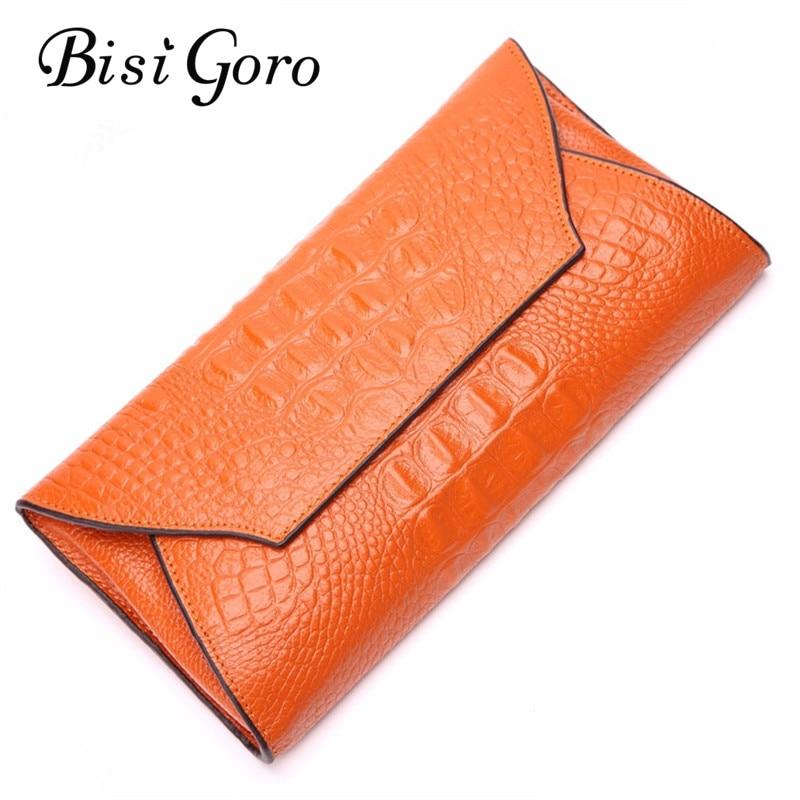 BISI GORO Women Wallets Alligators Genuine Leather Money Clip Long Wallet Female Money Holder Purse Women Clutch Money Bag 2018 money