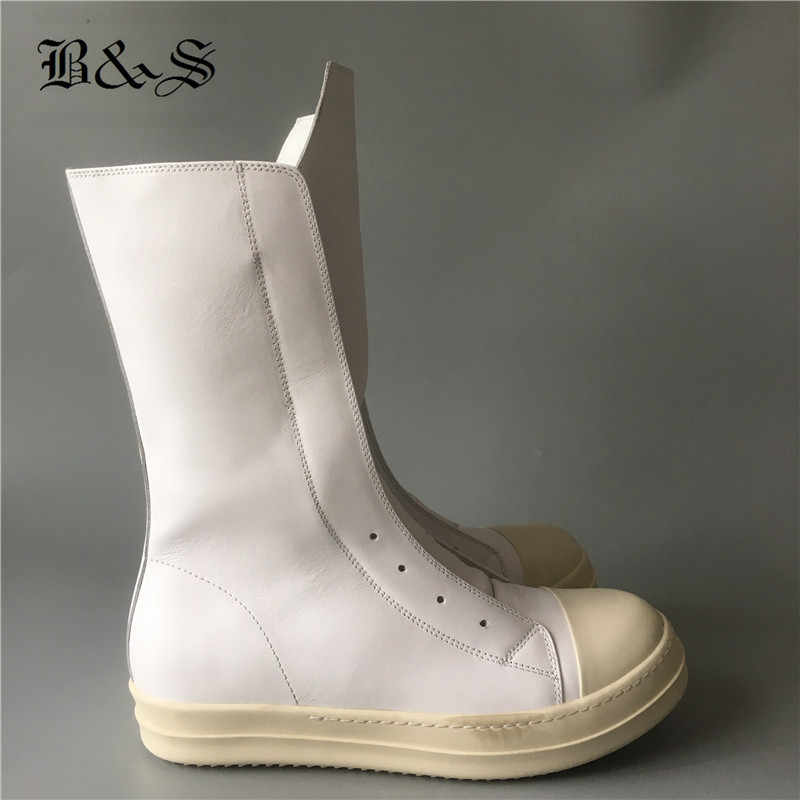BLACK& STREET real picture Full White genuine leather zip flat trainer Boots men Handmade long tongue Hip Hop punk Boots