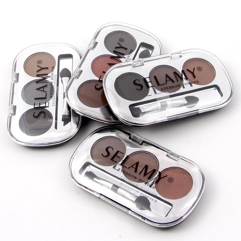 3 Colors Waterproof Pigments Eyes Makeup Eyebrow Powder Palette with Brush Black Brown Minerals Eye Brow Tattoo Cosmetic 5