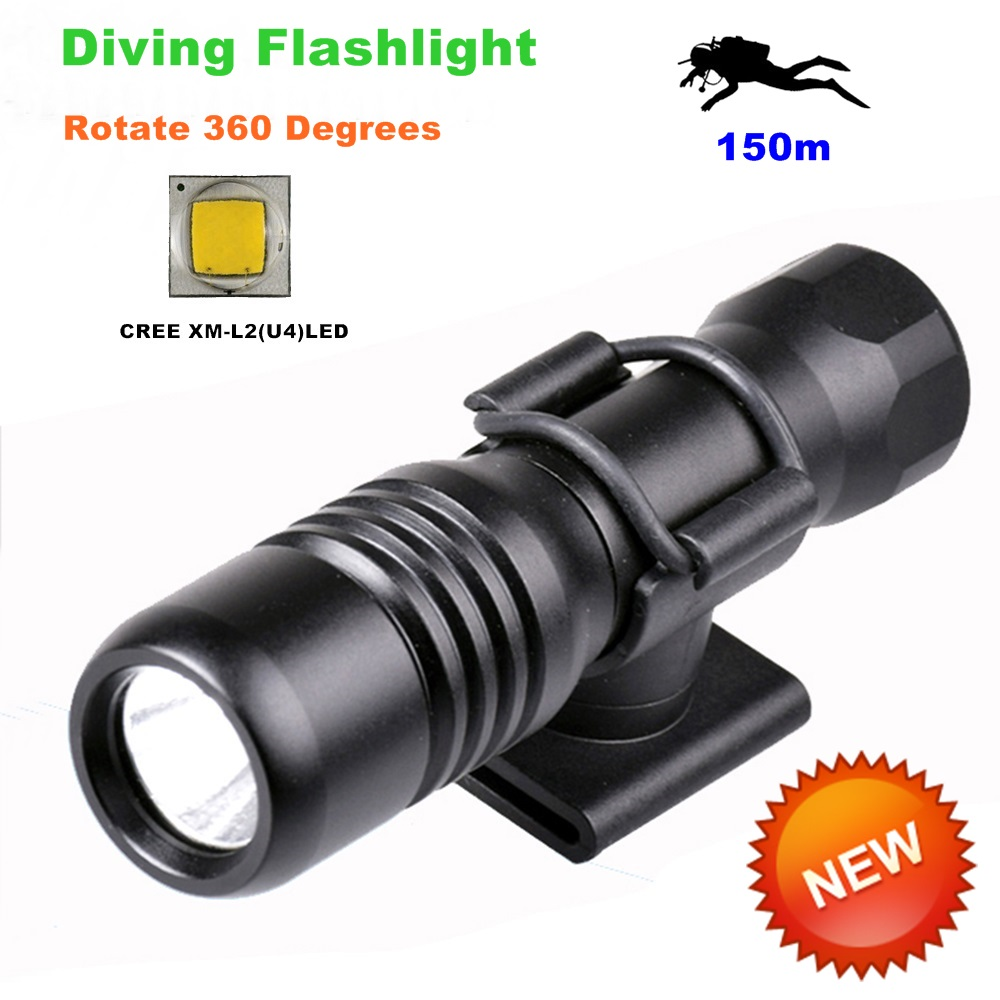 Diving diver LED Flashlight underwater torch CREE XM-L2 U4 waterproof light lamp 360 Degree Rotation Diving Flashlights-DIV18 ru zk30 cree xm l2 diving led flashlight 5000lm zoomable torch lantern dive waterproof underwater 120m military grade flashlight