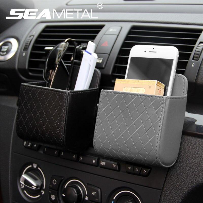 Car Air Vent Organizer Phone Holder Storage Pouch Universal Car Phone Holder Case Box Storage Bag Holder Pocket with Hook Gray