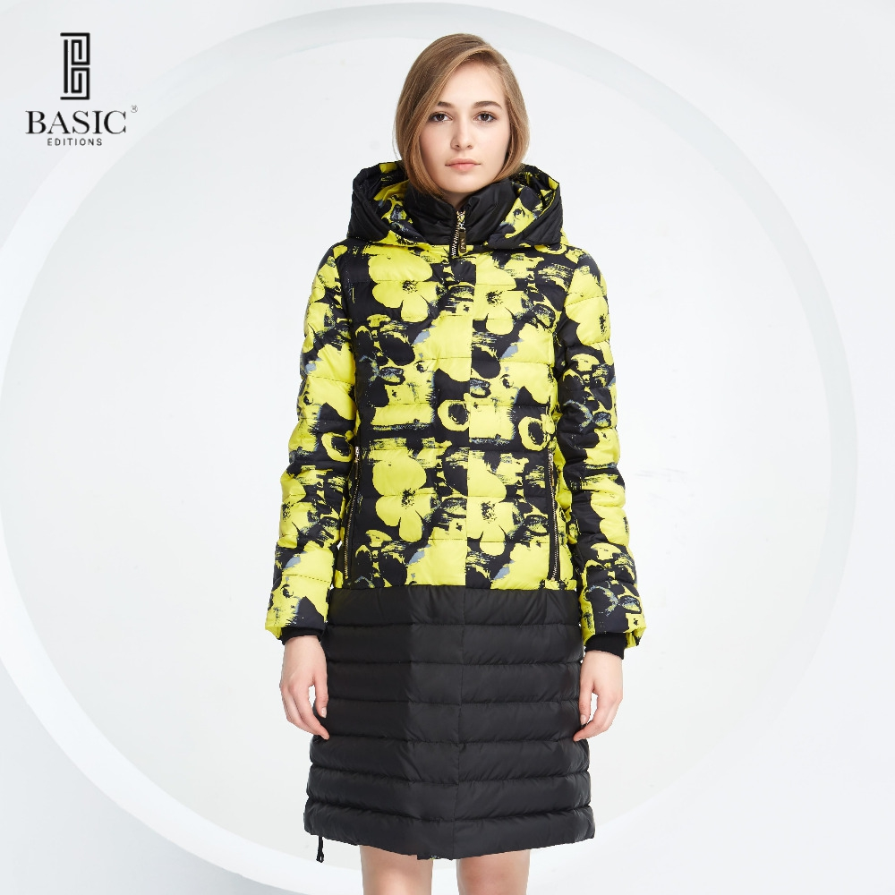 Basic Vogue Winter Women Floral Pattern Long Down Parka Jacket with Hood – Y16093