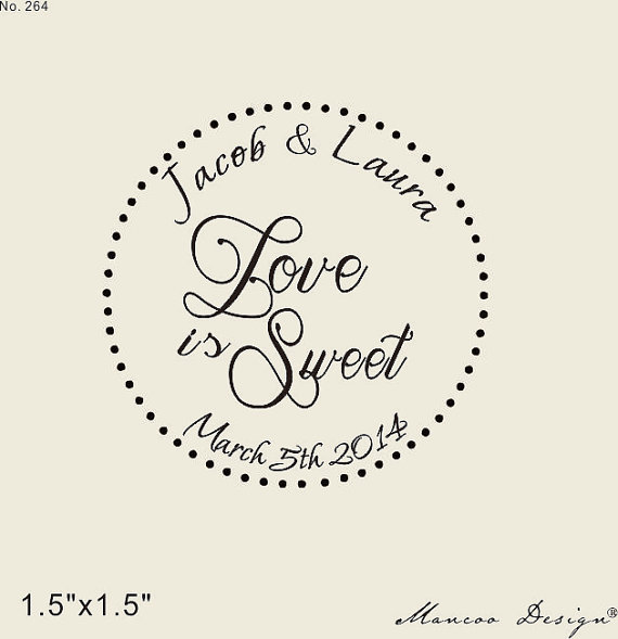 Love Is Sweet In Polka Dot Circle Custom Rubber Stamp For Candy Buffet Wedding Favors