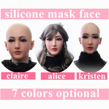 цены Artificial Realistic Fake Silicone Female Face For Crossdresser Transgender Dragqueen Shemale  Masquerade Halloween Breast Forms