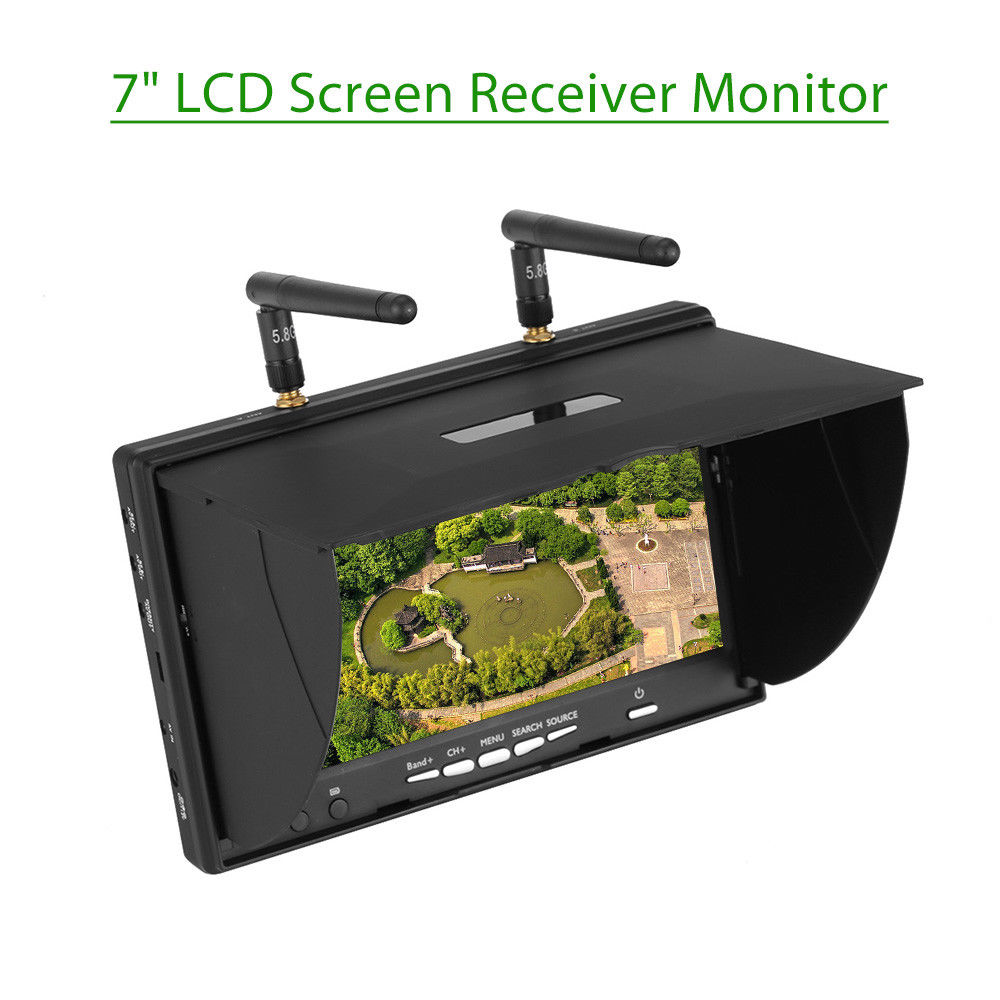 TOMLOV LCD5802S 5.8Ghz 40CH 7 LCD Screen 800*480 Dual Diversity Receiver FPV Monitor Built-in Battery 600cd/m2 For RC Drone fpvok fpv 5 8 ghz 40ch rd40 raceband dual diversity receiver with a v and power cables