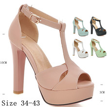 Summer Pumps Women Peep Toe High Heels Party Wedding Platform Gladiator Sandals Woman High Heel Shoes Plus Size 34-40.41.42.43