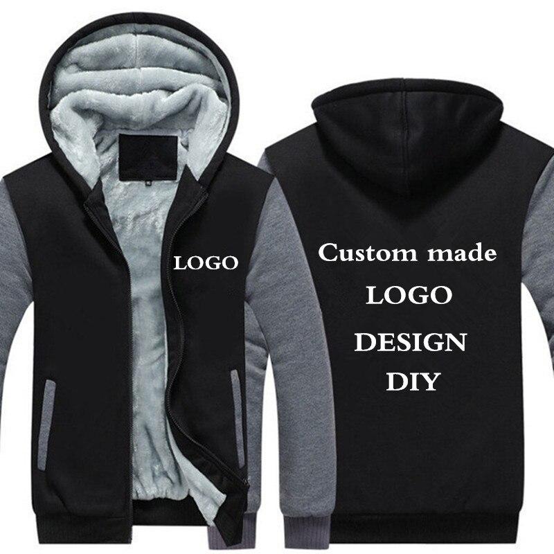 Lassen sie verschiffen USA Größe Männer Hoodies, Sweatshirts Personalisierte Angepasst LOGO Gedruckt Design DIY männer Nach maß Jacken Mäntel